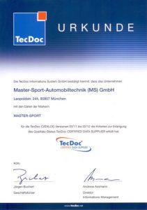 Master-Sport certifikovaným poskytovatelem dat TecDoc