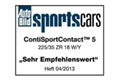 ContiSportContact 5 je vítězem testu magazínu AutoBild sportscars