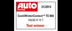 ContiWinterContact TS 850 vítězem testu zimních pneumatik magazínu AutoZeitung