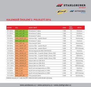 STAHLGRUBER (Autocora & Autobenex) – Kalendář školení – 2. pololetí 2014