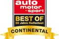 ContiWinterContact TS 850 vítězí v testu zimních pneumatik časopisu auto motor und sport