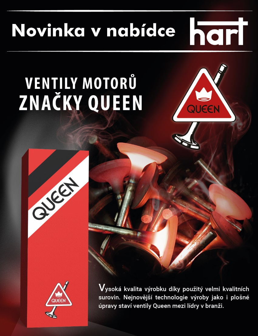 Ventily motorů značky Queen