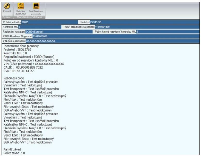 Protokol readiness kódů