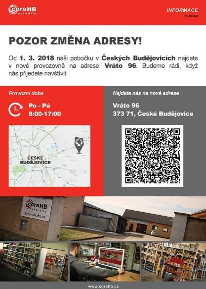 Změna adresy pobočky firmy coraHB autodíly v Českých Budějovicích