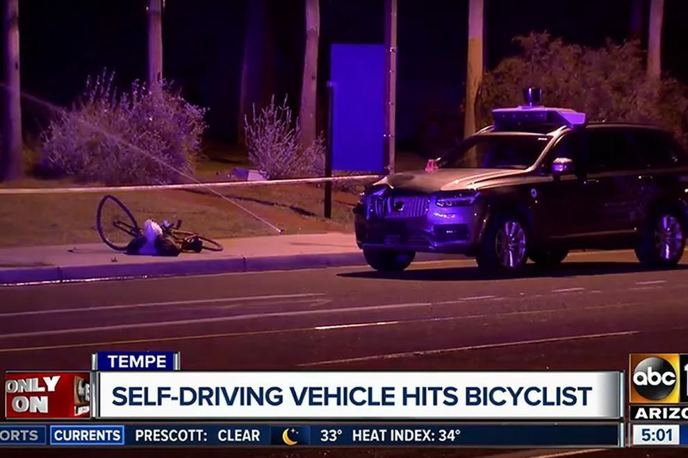 Nehoda autonomního vozu společnosti Uber