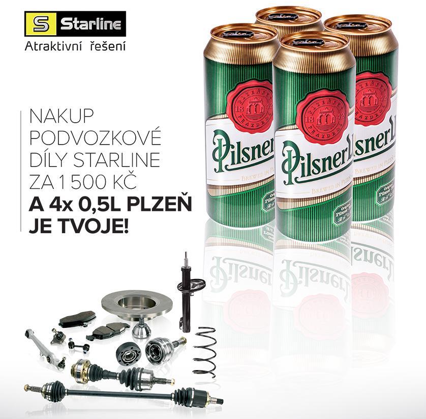 Pivo Plzeň za nákup podvozkových dílů Starline u Auto Kelly