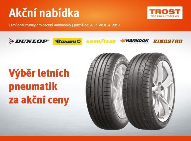 Akční nabídka na letní pneumatiky pro osobní automobily u TROSTu