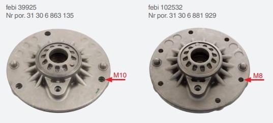 Horní uložení Febi 39925 a 102532 pro BMW