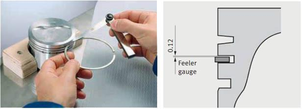 Měření drážky pístního kroužku listovou měrkou