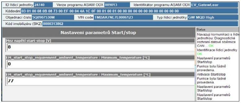 Nastavení parametrů Start/Stop na SuperVagu