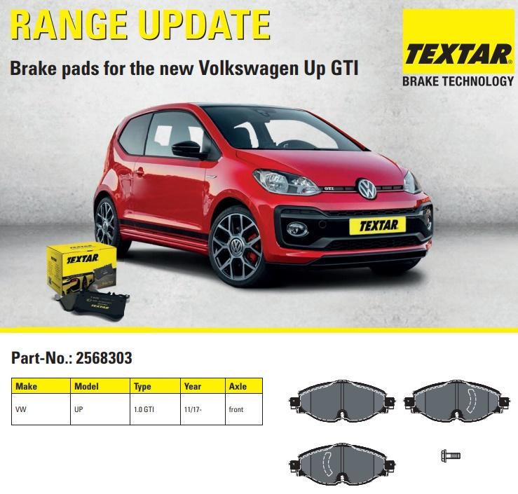 Brzdové destičky Textar pro nový Volkswagen Up GTI