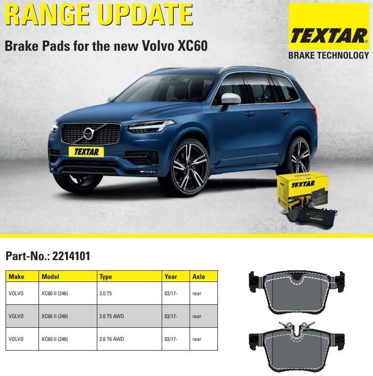Nové brzdové destičky TEXTAR pro nové Volvo XC60