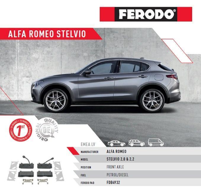 Brzdové destičky Ferodo pro Alfu Romeo Stelvio