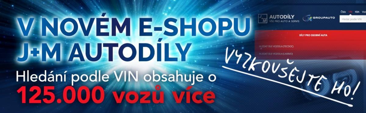 Hledání podle VIN v e-shopu J+M autodíly – Nextis verze 9