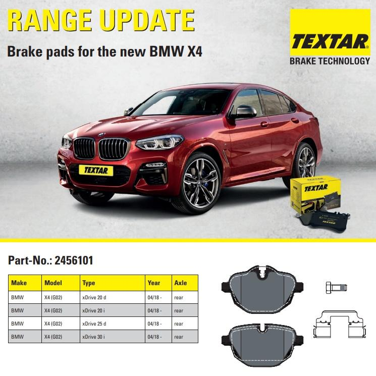 Textar vyrábí brzdové destičky pro nové BMW X4