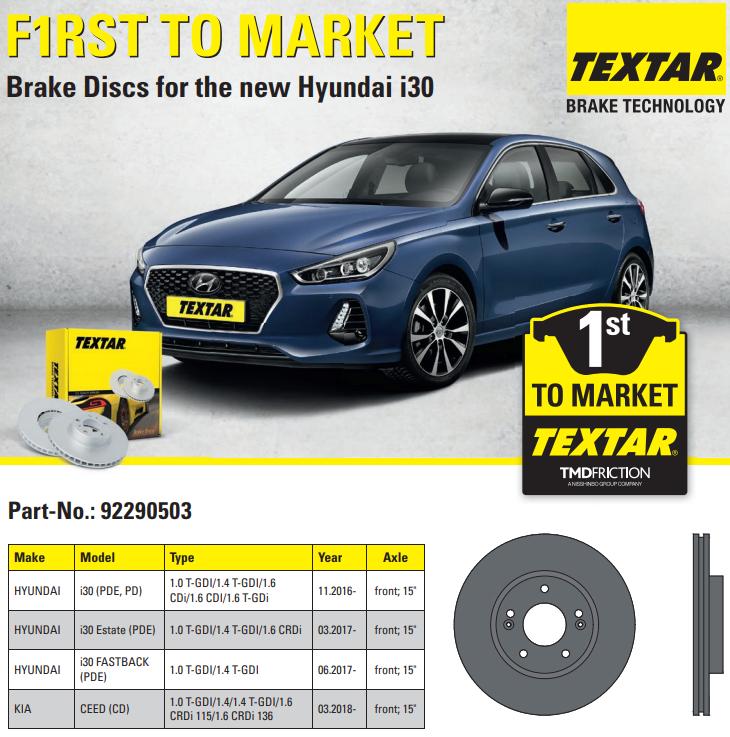 Brzdové kotouče Textar pro nový Hyundai i30