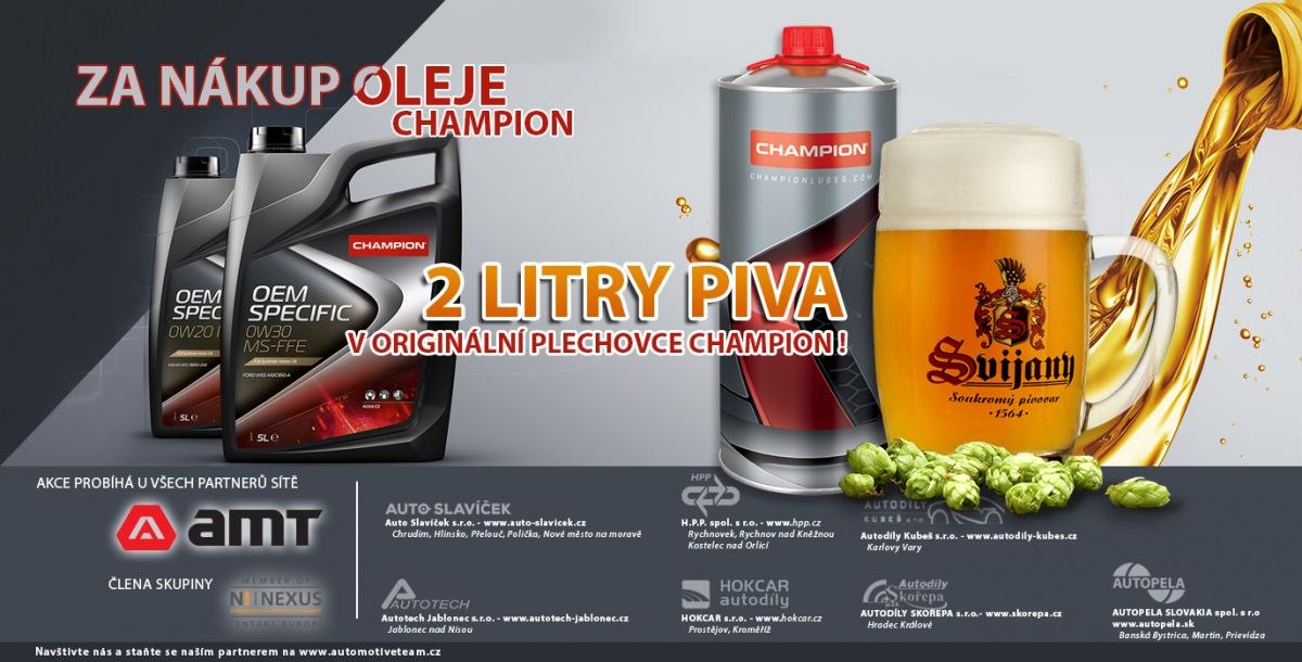 Za nákup olejů CHAMPION dárkové balení piva zdarma