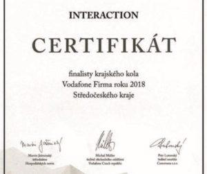 Společnost Interaction mezi TOP 10 v soutěži Firma roku