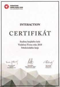 Certifikát za Firmu roku 2018 pro Interfaction