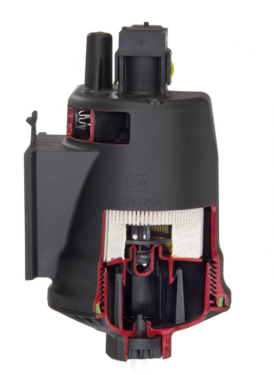 Víceúčelový modul pro filtraci paliva Hengst, používaný mimo jiné v Opel Insignia 2.0 CDTI. GM. Kód platformy motoru D1xx