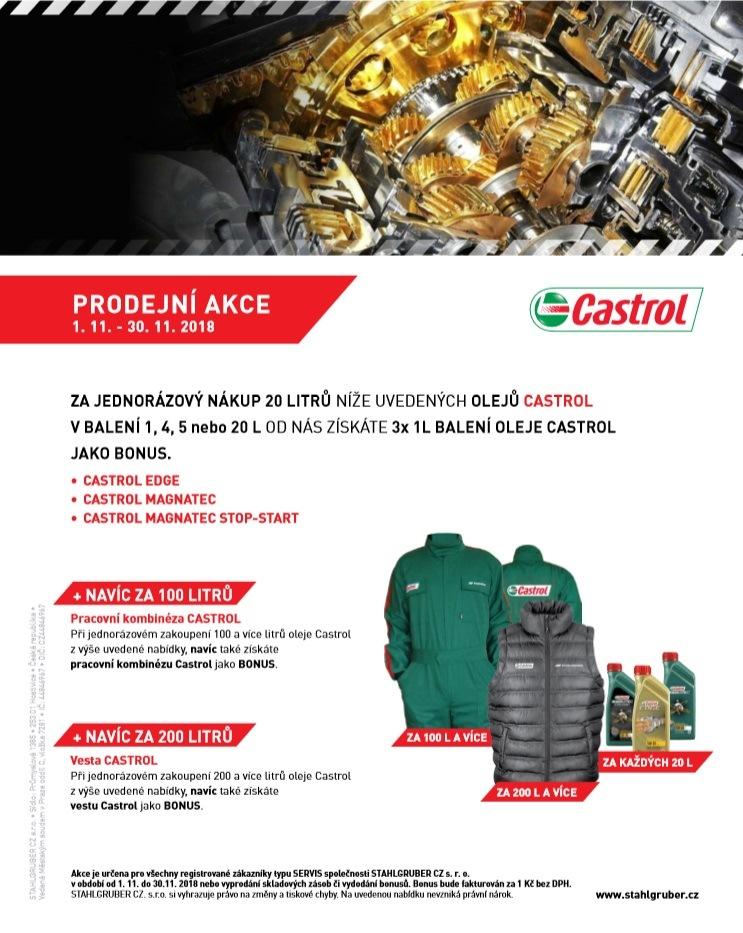 Bonusy za nákup oleje Castrol u společnosti Stahlgruber