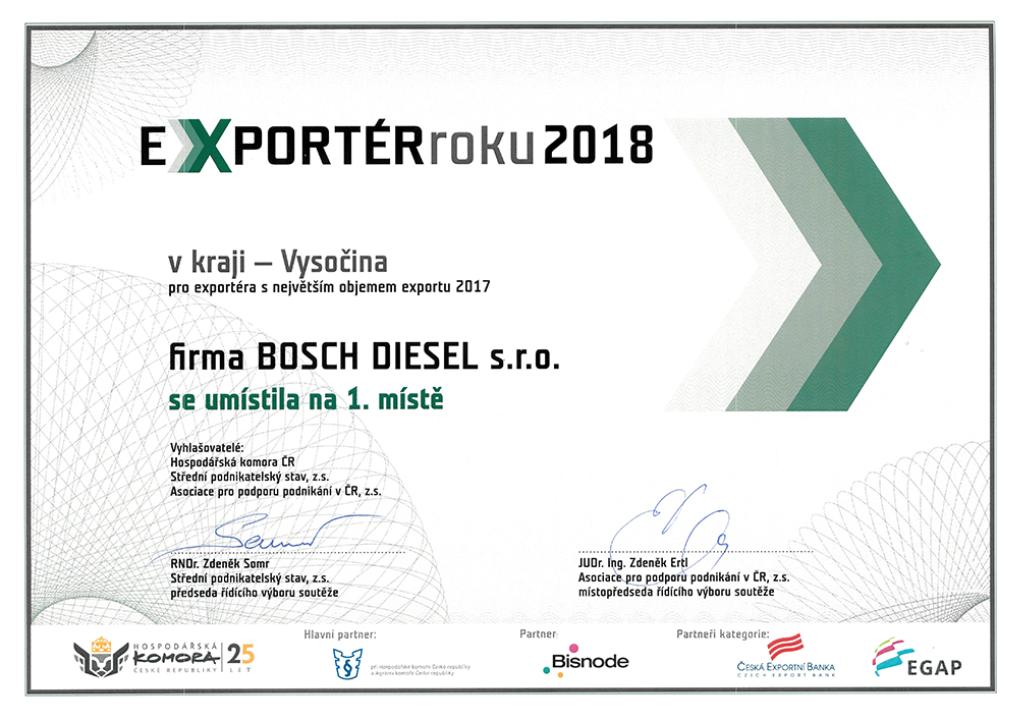 1. místo firmy Bosch Exportér roku 2018