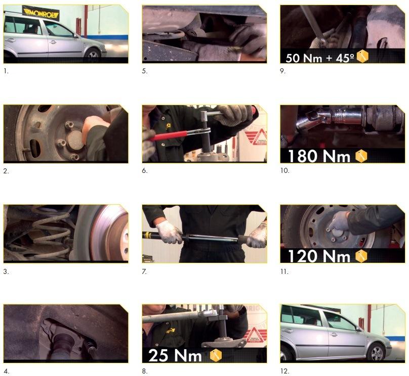 Postup demontáže a montáže zadních tlumičů Škoda Octavia