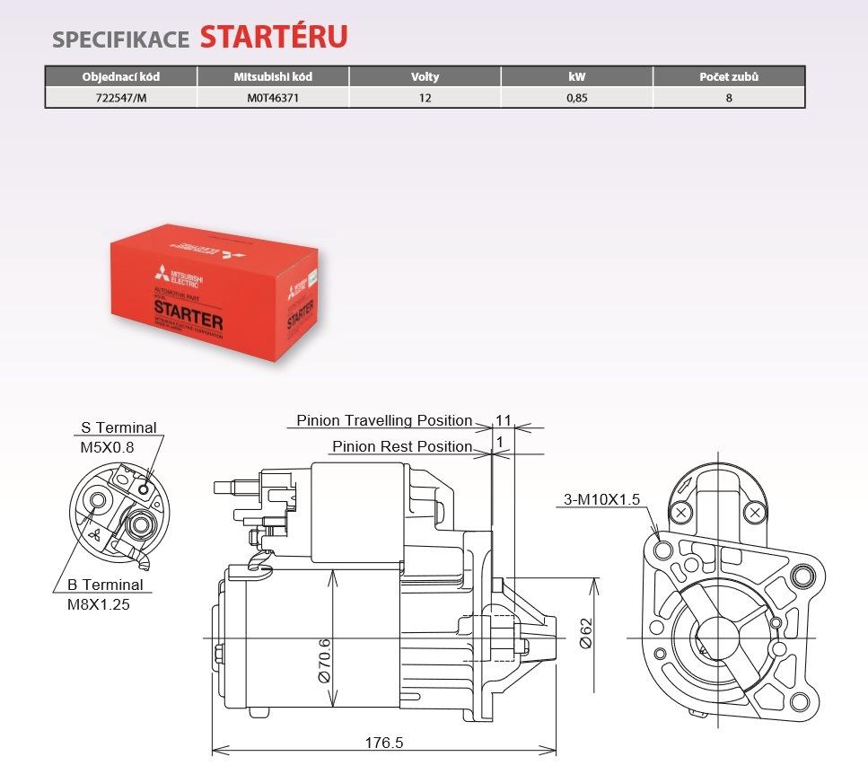 Nový startér Mitsubishi Eletric na DACIA / RENAULT