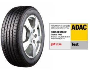 Pneumatika Bridgestone Turanza T005 zvítězila v testu letních pneumatik autoklubu ADAC