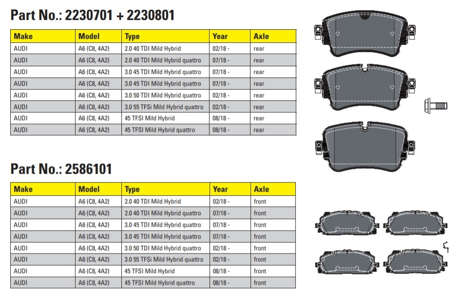 Textar brzdové destičky pro Audi A6