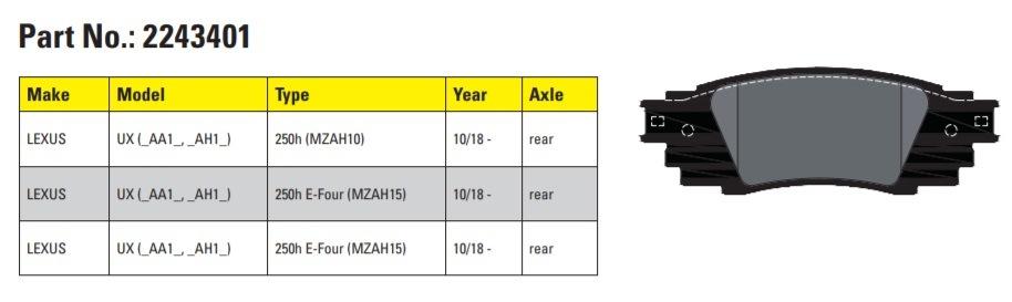 Textar brzdové destičky pro Lexus UX