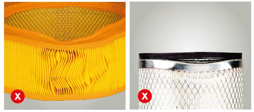 Nemontovat promáčklé nebo jinak deformované filtry