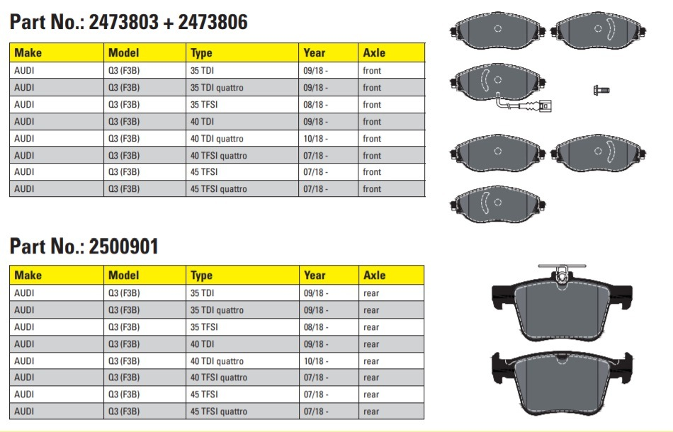 Brzdové destičky Textar pro Audi Q3