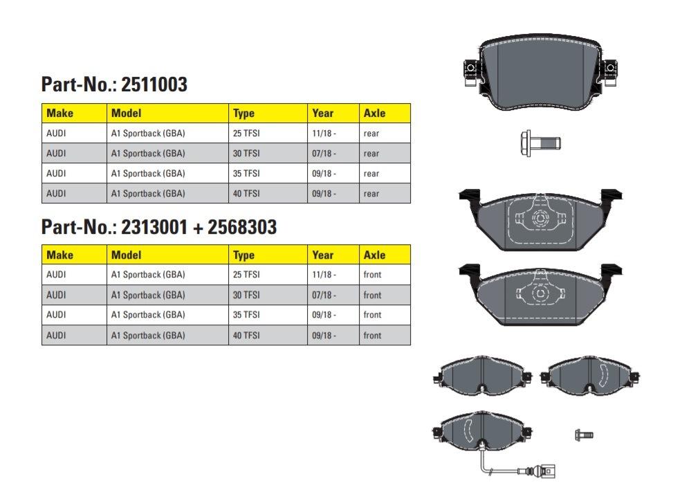 Brzdové destičky pro Audi A1 od Textar