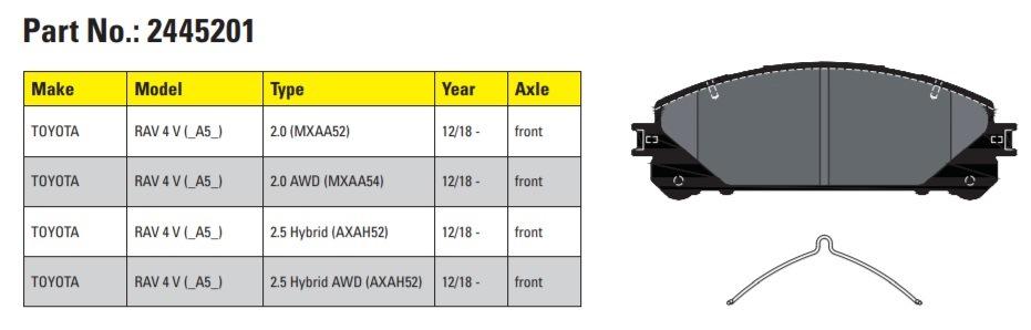 Nové brzdové destičky Textar pro Toyota TAV 4