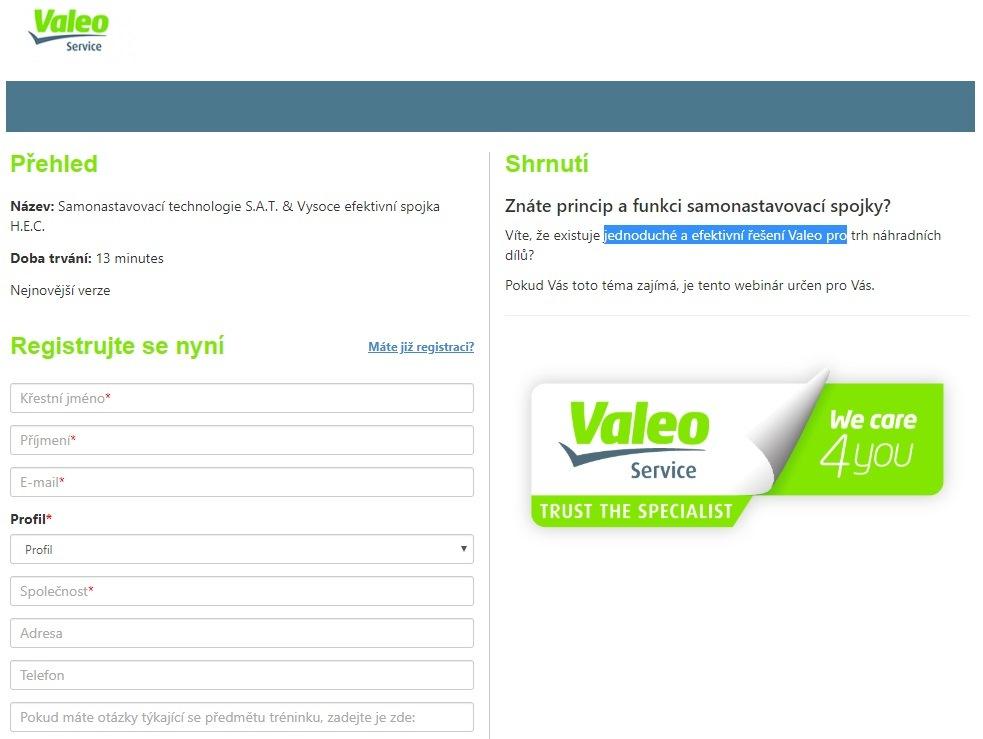 Webinář Valeo na téma: Samonastavovací technologie S.A.T. & Vysoce efektivní spojka H.E.C.