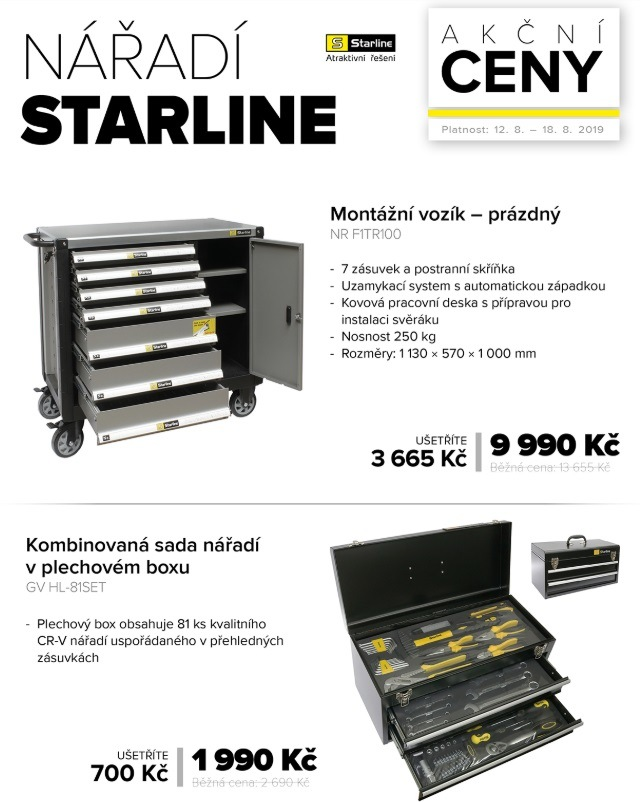 Akční ceny na nářadí Starline u Auto Kelly