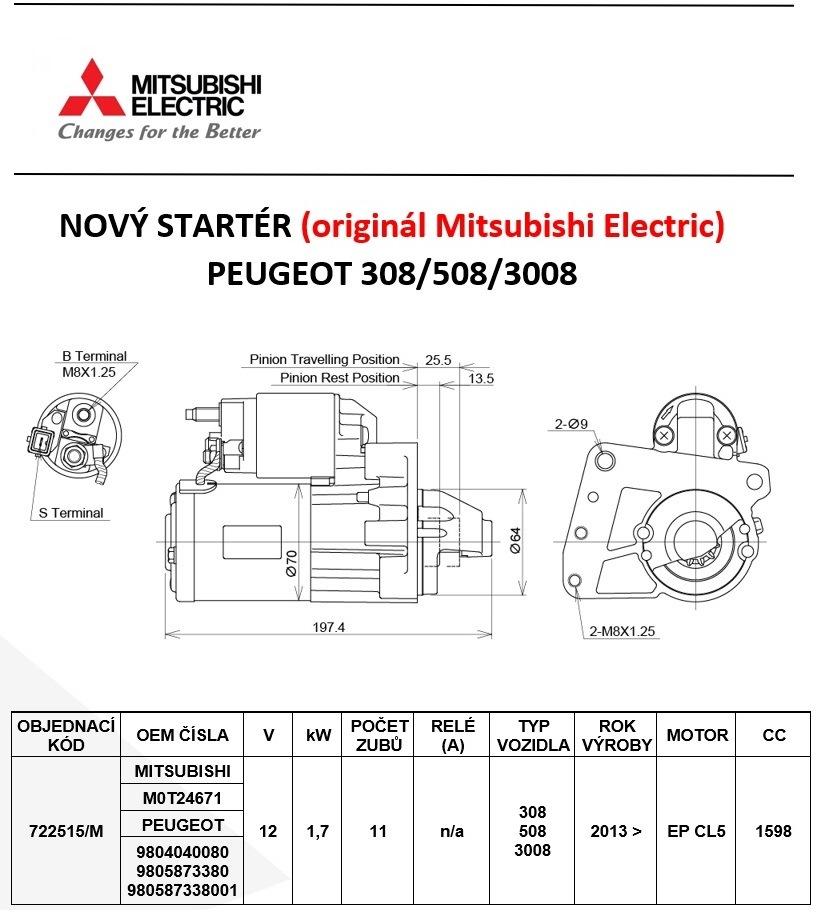 MITSUBISHI ELECTRIC má nově startér na PEUGEOT 308/508/3008