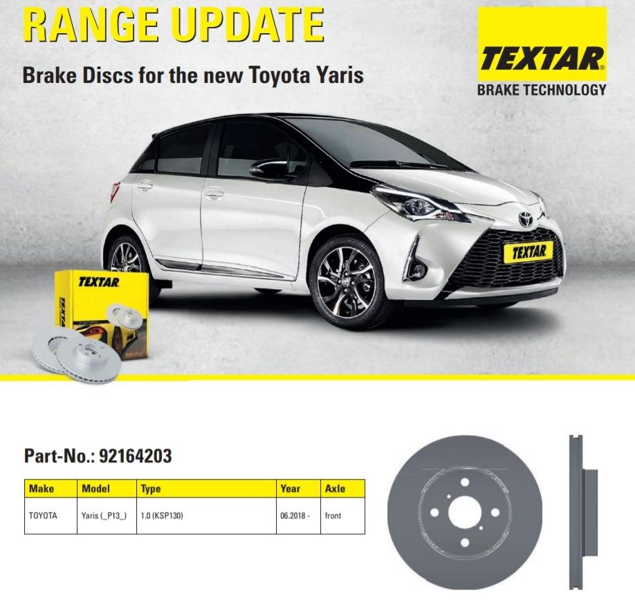 Brzdové kotouče pro nový Toyota Yaris značky Textar