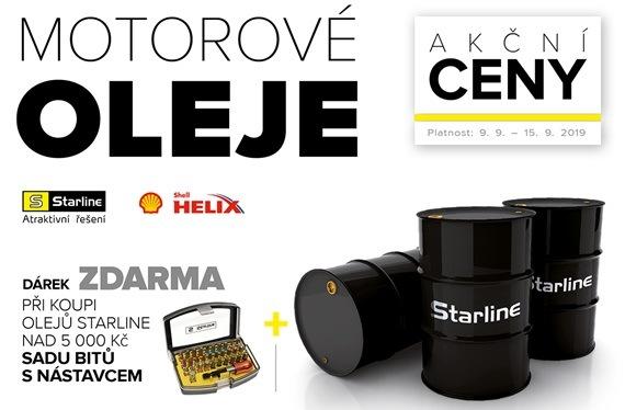 Motorové oleje Starline a Shell s dárkem