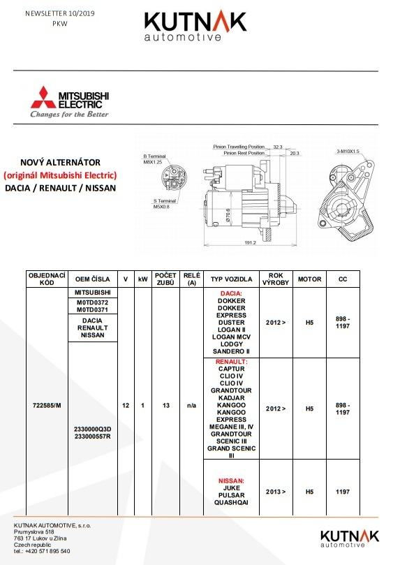 MITSUBISHI ELECTRIC má nově alternátor na RENAULT/DACIA/NISSAN