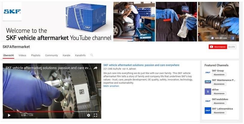 Instruktážní videa SKF na kanálu YouTube
