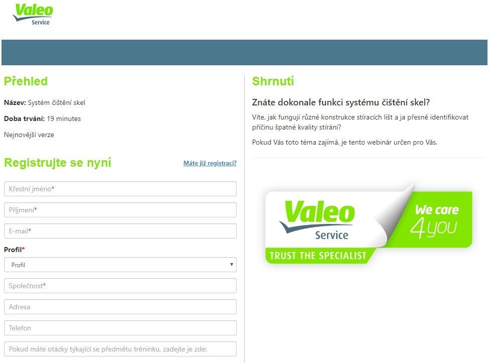 Přihlášení online technické školení Valeo