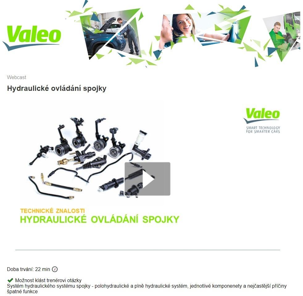 Nový webinář Valeo: Hydraulické ovládání spojky