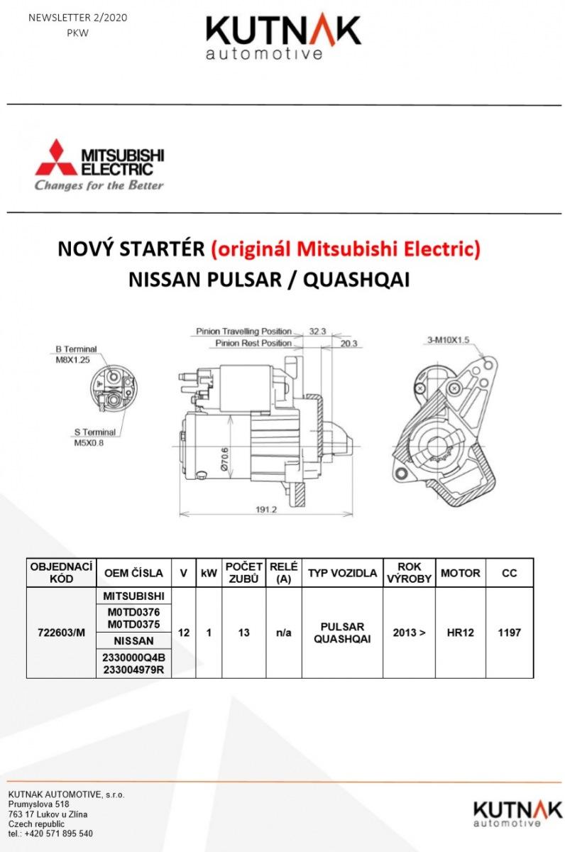 MITSUBISHI ELECTRIC má nově alternátor na NISSAN PULSAR / QUASHQAI