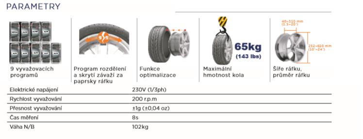 Parametry vyvažovačky MM-HC1024FA