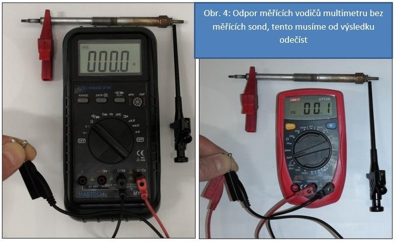 Měření odporu žhavicí svíčky