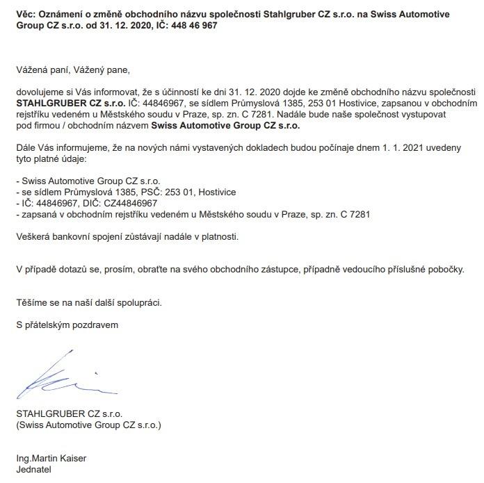 Oznámení o změně názvu firmy Stahlgruber