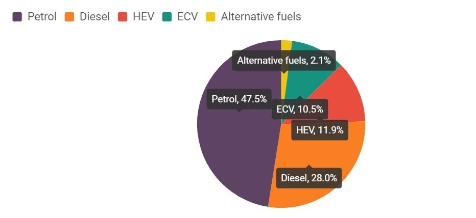 Typ paliv nových vozů 2020