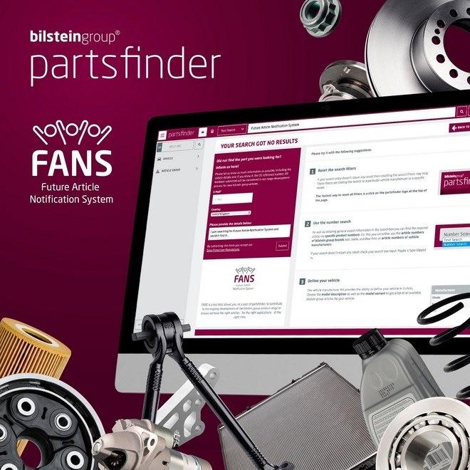 online katalog Partsfinder nástroj FANS